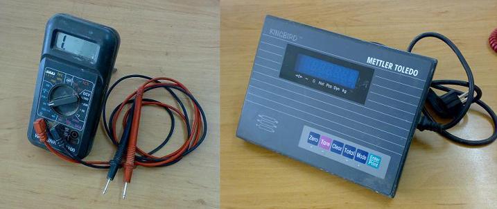 Đồng hồ đo ohm và bộ chỉ thị cân để kiểm tra loadcell