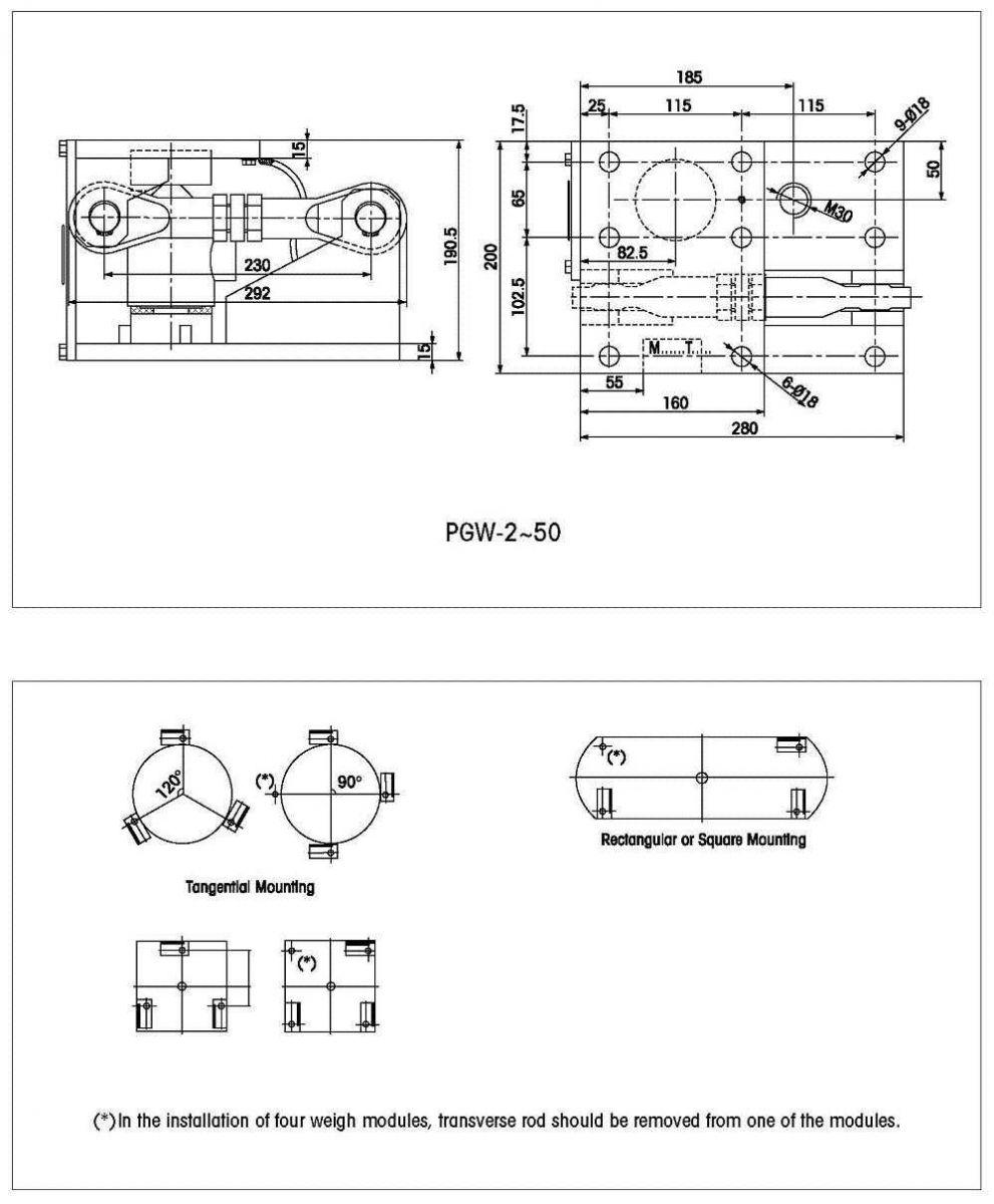 Module loadcell cân bồn PGW Gagemount Tank Weigh module for 2t~50t